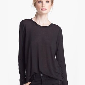 Vince Rolled Collar Long-Sleeve Tee